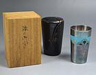 Antique Ando Shippo Silver & Cloisonne Portable Sake Cup w/Case
