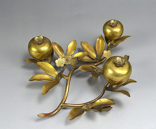 Antique Japanese Gilded Bronze Peach Branch