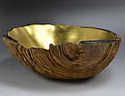 Exquisite Antique Japanese Gilded Wooden Bowl
