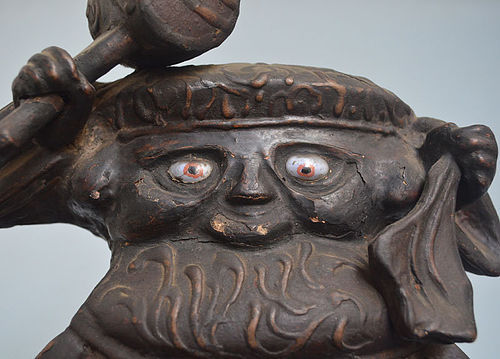 Antique Japanese Mingei Daikoku-zo, Signed & Dated 1699