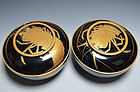 Large Pair Taisho p Lacquered Bowls w/ Gold Lobsters