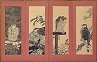 Rare Set Screen-mounted Hanga, Hawks by Tomikichiro, 1956