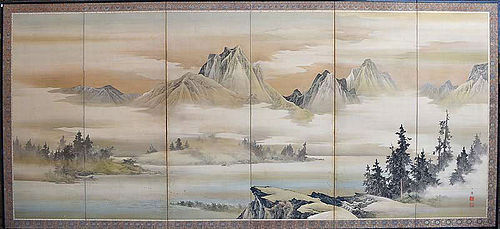Superb Antique Japanese Silk Screen, Nomura Bunkyo Landscape