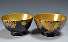 Antique Japanese Lacquered Haisen Bowl Set, Momiji