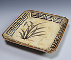 Antique Japanese Edo p. E-seto Plate with Gold Repairs