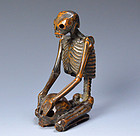 Antique Japanese Seated Skeleton Wood Carving