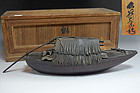 Antique Japanese Bronze Boat Koro Incense Burner