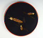 Antique Japanese Lacquer Trays, Feathers