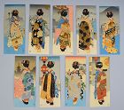 Antique Surimono Envelopes Woodblock printed w/ Geisha