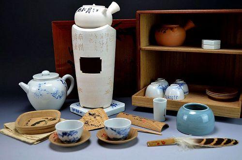 Sencha Tea Set by Miura Chikusen and Hashimoto Dokuzan