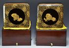 Set Antique Japanese Lacquer Boxes, Shishi Lions & Cub