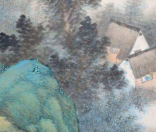 Superb Akamatsu Unrei Silk Landscape Scroll