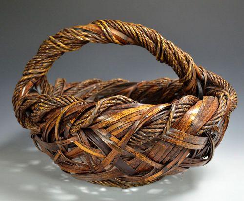 Fine Large Japanese Bamboo Art Basket, Yufu Shohaku