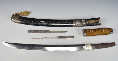 Edo p. Wakizashi Samurai Sword Superb Silver Mount