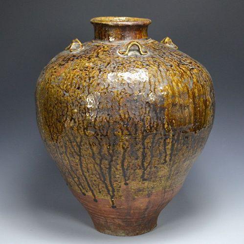 Early Edo Japanese Nagare- yu Yotsu-mimi Tamba Chatsubo