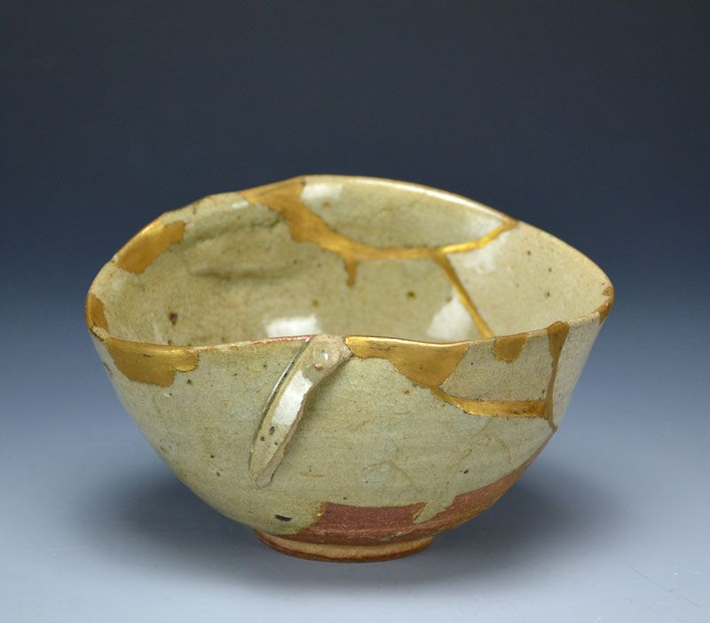 Antique Japanese Yosegi Chawan Tea Bowl w/ Gold Repairs