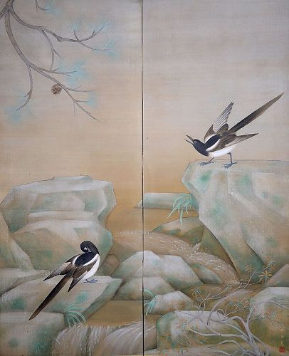 Taisho p. Painting by Kido Soi (Shunpo), 2 Panel Screen