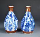 3 Sets of Antique Japanese Tokkuri Sake Flasks, Eiraku etc.