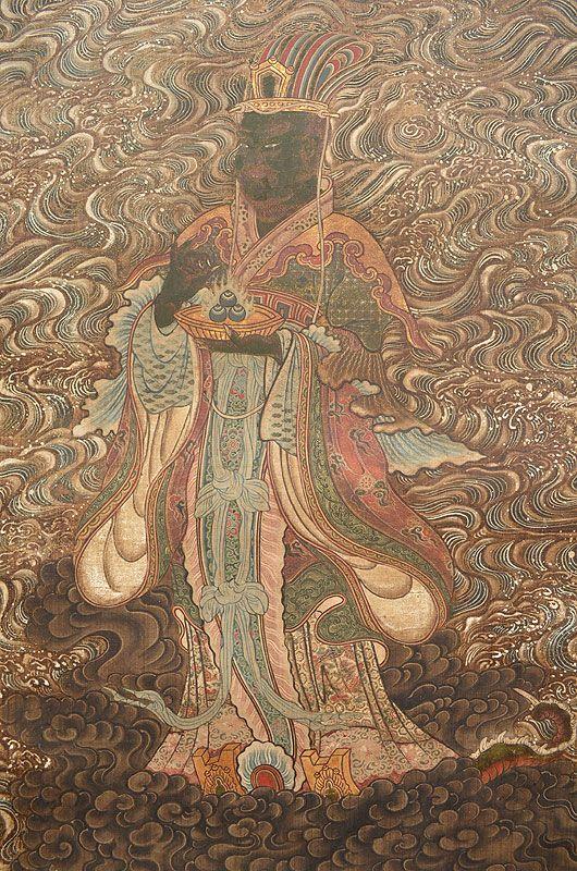 Antique Japanese Buddhist Scroll, Varuna the Dragon King
