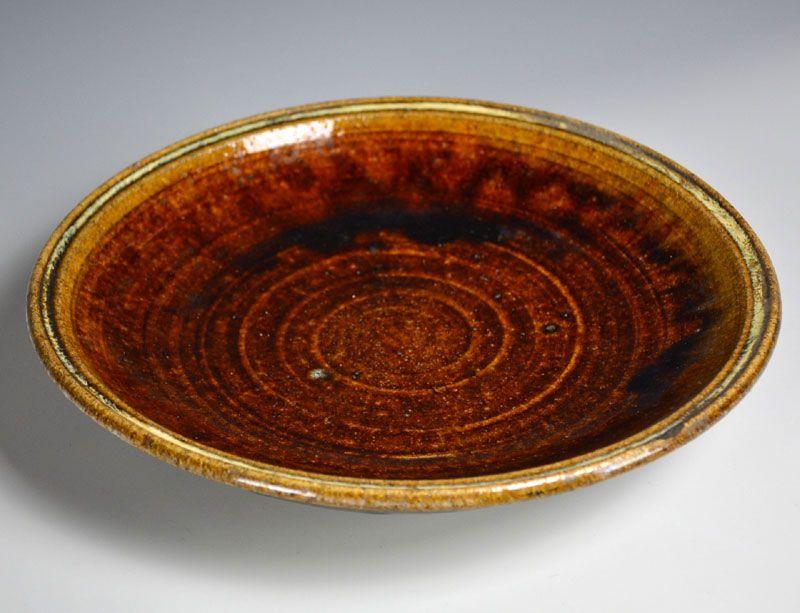 Aizu Hongo Japanese Antique Mingei Pottery Plate