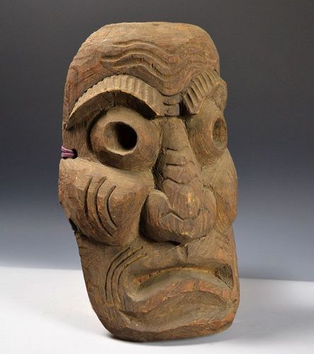 Antique Japanese Carved Wood Mingei Mask