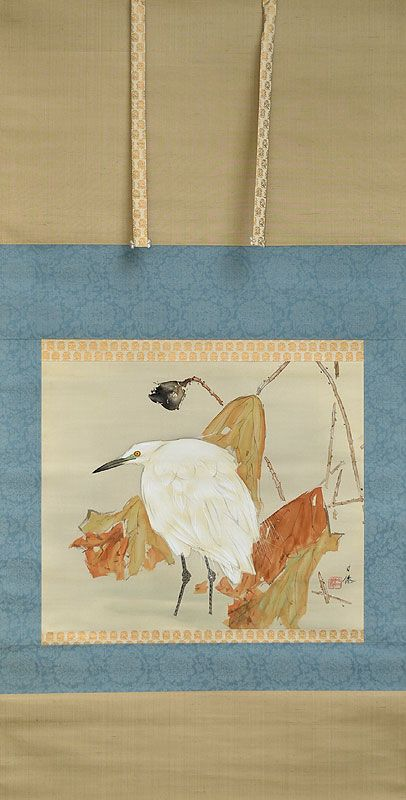 Egret in Lotus by Higashihara Hosen