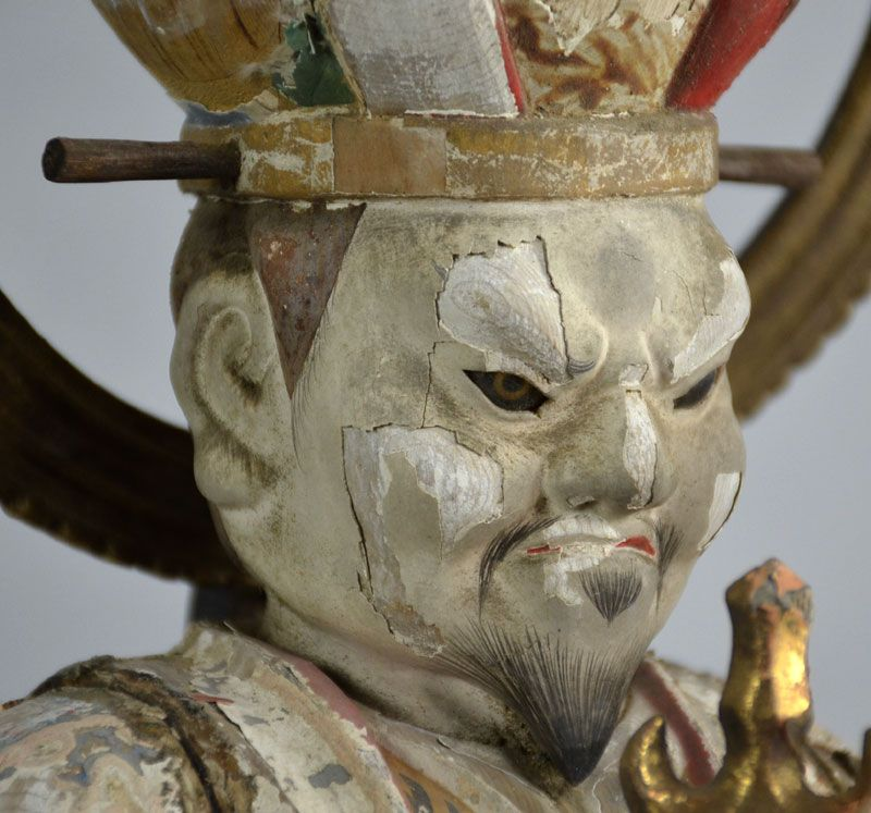 Edo period Guardian Buddhist Deity Holding Tower