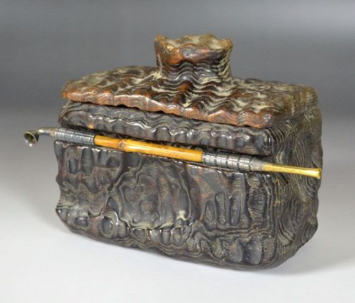 Antique Japanese Mingei Arts & Crafts Tabaco Box w/Pipe