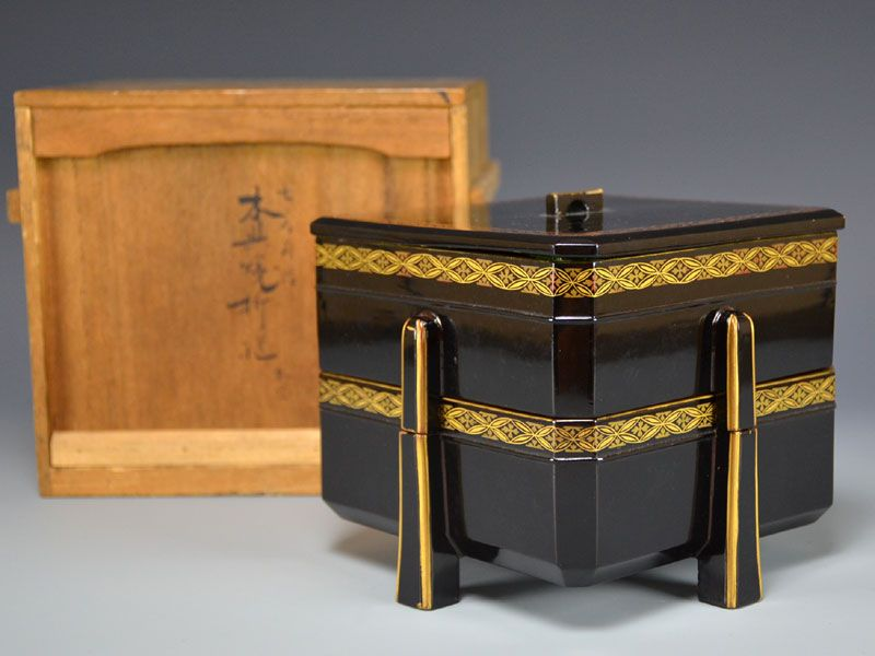 Antique Toyoraku-yaki Lacquered Ceramic Stacking Box