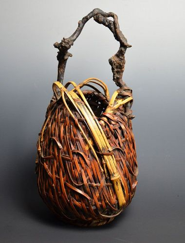 Exquisite Wa-gumi Japanese Woven-Bamboo Basket