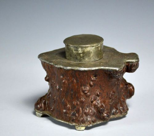 Antique Burled Wood and Lead Cha-ire Tea Container