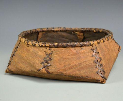 Japanese Sumitori stripped-wood Charcoal Basket, Sozen