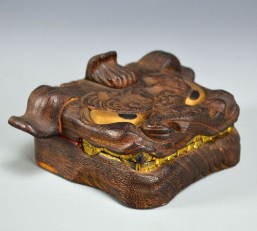 Beautiful Carved Shishi Lion-Mask Box, Sugimura Yusai