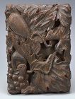 Japanese Carved Wooden Box, Squirrel and Grapes