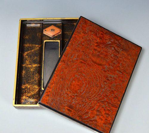 Exquisite Lacquer and Burl-Wood Suzuri-bako Writing Box