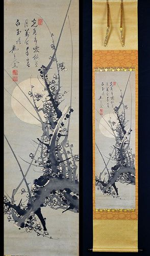 Mid-Edo p. Zen Scroll, Plum and Moon, Ryudojin