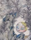 Scholar Under Blossoms Rare Scroll by Tanaka Isson