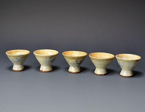 Rare Kosobe Yaki Sake Cup Set, Late Edo