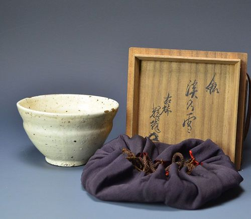 Haunting Edo period Hagi Chawan Tea Bowl w/ Gold Repair