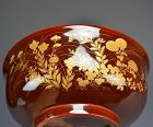 Antique Japanese Toyoraku Lacquer Pottery Bowl