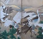 Edo p. Japanese Six Panel Screen, Prancing Cranes 18th c.