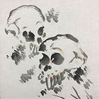 Antique Japanese Scroll, Two Skulls