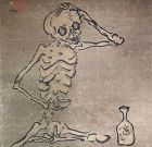 Skeleton in his Cups, Humorous Edo p. Japanese Scroll