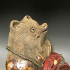 Antique Sculpted Ceramic Image of a Tanuki in Priest Robes