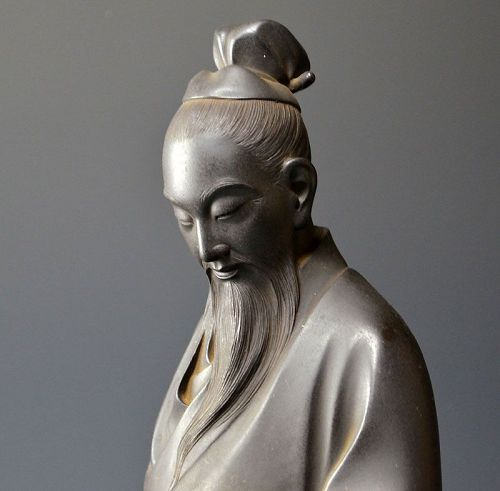 Exquisite Bronze Figure, Du Fu by Yamamoto Junmin