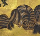Set of Edo period Painted Gold Doors, Civets among Flora