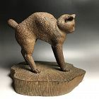 Wood Sculpture of a Cat, Nakamura Tomei, 1934