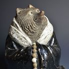Tanuki Dressed in Priest Robes, Pottery Okimono