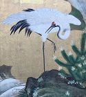 Edo period Japanese Gold Screen, Cranes, Pine & Waterfall