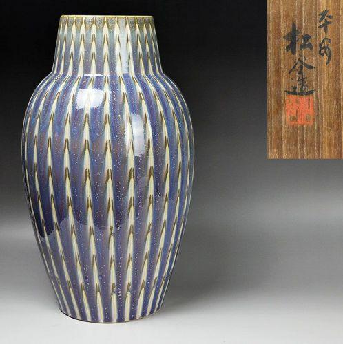 Antique Japanese Pottery Vase by Kanae Shokin